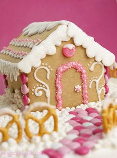 Sugar Plum Gingerbread House - made with candy coating vs frosting - so much easier & faster. @Melissa Henson CandiQuik