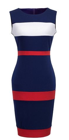 HOMEYEE Women's Voguish Colorblock Stripe Pencil Dress B275 >>> This is an Amazon Affiliate link. Find out more about the great product at the image link.