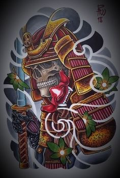 I seriously love the different shades, lines, and depth. This is an excellent choice if you want inspiration for a Japanese Warrior Tattoo, Japanese Tattoo Art, Japanese Art, Samurai Tattoo Sleeve, Sleeve Tattoos, Chinese Tattoo Designs, Samourai Tattoo, Japan Tattoo Design, Full Sleeve Tattoo Design