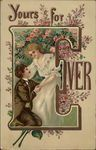 Yours Forever - Couple with Flowers - Letter E