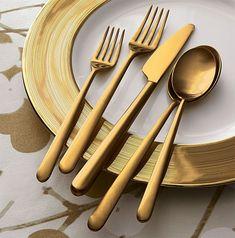 Italian Gold Flatware - Meret Flatware from Crate & Barrel    www.trendir.com/dining-entertaining