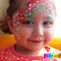 Rainbow and Flowers Face Painting on a little girl by Glitter-Arty Face painting, Bedford, Bedfordshire Girl Face Painting, Glitter Face, Henna Artist, Face Art, Little Girls, Girly, Rainbow, Pretty, Flowers