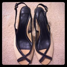 COACH shoes peep toe sandal with heel Size 7 Beautiful sandals, great condition💞 Coach Shoes Heels