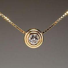 "Genuine Diamond Solitaire Slide Pendant 16"" Necklace 14K Gold"