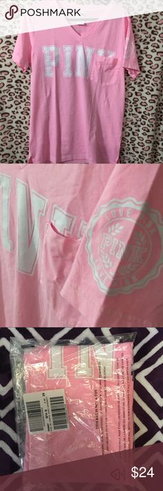 Campus Pocket Tee Price is already at the lowest I am willing to go.  Brand New. Just ordered from VS. Never worn. However, I did open the included package to confirm size and take pictures. Size Small. Color: Rosette. Brand: PINK PINK Victoria's Secret Tops