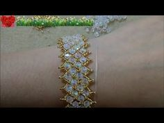 How to bead funny accessory:Mesh Diamond Beads Bracelet - YouTube