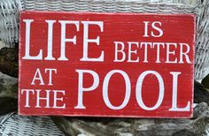 Pool Sign - Pool Decor - Outdoor Sign - Yard Decor - Outdoor Decor - Nautical - Beach - Coastal - Rustic - Distressed - Hand Painted Wood - The Sign Shoppe Outdoor Signs, Outdoor Decor, Pool Signs, Backyard Signs, Beach Signs, Living Pool, Outdoor Living, My Pool, Pool Fun