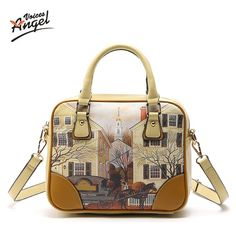 2017 Women Messenger Bags Fashion PU Women  Handbags Oil Picture Pattern Medium Shoulder Bag Female Tote Women Bags JY89
