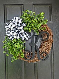 Buffalo Check Boxwood Wreath Every Day Wreath Spring Wreath Summer Wreath All Seasons Christmas Wreath Black Letter Wreath White Wreath, Diy Wreath, Wreath Ideas, Boxwood Wreath Diy, Tulle Wreath, Burlap Wreaths, Grapevine Wreath, Letter Wreath, Christmas Wreaths