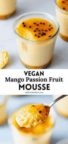 Vegan Dessert Recipes, Tart Recipes, Healthy Recipes, Passion Fruit Mousse, Mango Mousse, Vegan Caramel, Aquafaba, Egg Free, Dates