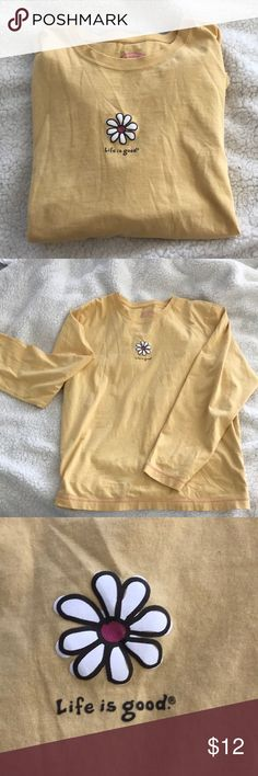 """Life is good long sleeve tee -yellow life is good long sleeve with a daisy in middle and """"life is good"""" written below  -made of 100% cotton  -super cute for summer! -great condition! Life Is Good Tops Tees - Long Sleeve"""