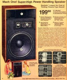 "RadioShack's legendary Realistic Mach One speaker was a three-way design featuring 15-inch air suspension woofer, horn midrange and horn tweeter. They sold it as giving you ""theater sound"" because at that time movie theater sound in the ""movie palaces"" was considered the ultimate in audio quality. Remember, this was the era of Star Wars: Episode IV, A New Hope. Audiences were enthralled by its truly awesome sound track, so the idea of getting movie sound like Star Wars had at home was…"