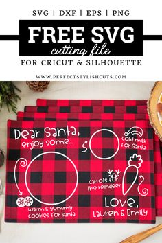 Free Dear Santa Placemat SVG File - Free Dear Santa Placemat SVG File for Cricut Projects and Silhouette Cameo Projects from PerfectSty - Cricut Svg Files Free, Free Svg Cut Files, Cricut Craft Room, Cricut Vinyl, Cookies For Santa Plate, Silhouette Cameo Projects, Silhouette Cameo Gifts, Silhouette Cameo Christmas, Christmas Placemats