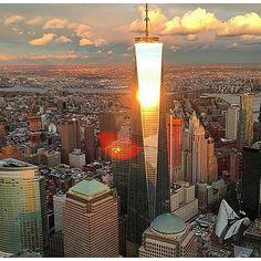Freedom Tower, Sunrise in NewYork City. One World Trade Center
