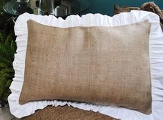 Burlap Pillow with Ruffle Edge. Etsy shop