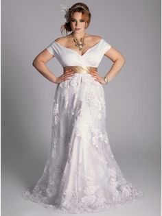"""Eugenia Vintage Plus Size Wedding Gown by IGIGI What a beautiful gown on a gorgeous woman. Makes me want to rush right over and put a ring on her finger and say """"I Do!"""""""
