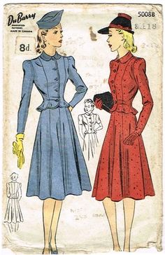 Vintage Dubarry 5008B 1940s suit pattern. Made in a warm woolen tweed for cooler weather.