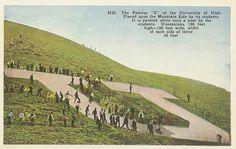 "Salt Lake City Utah~Folk Walking around Giant ""U"" of University of Utah 1910 PC Utah Utes Football, University Of Utah, Salt Lake City Utah, Vintage Postcards, Dolores Park, Art Prints, World, Places, Outdoor"