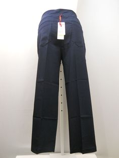 """PLUS SIZE 24W Womens Casual Pants RUBY RD. Solid Navy Straight Legs Inseam 30"""" #RubyRd #CasualPants"""