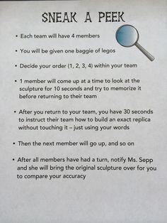 Ms. Sepp's Counselor Corner: Team Building: Sneak a Peek