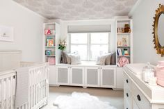 Designer Amy Elbaum's client loved the look of a white nursery but also was a big fan of wallpaper. Instead of covering the walls (and risk stains and wear and tear as the baby became older), they added wallpaper to the ceiling. An added bonus? The baby loves looking up at the patterned ceiling when she's in her crib. via Spearmint Baby