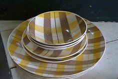 Sev. Pcs. Highland Plaid Pattern Brown Yellow by Homer Laughlin Co - some as is #HomerLaughlin