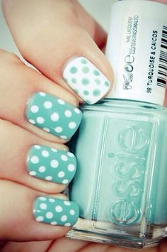 Essie Turquoise and Caicos, makes for a perfect polka dot mani!