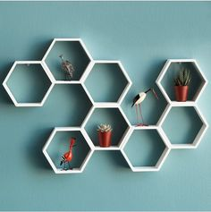 Create some buzz with the Honeycomb Decorative Accent Shelf & Busy Bee Wall Clock Geometric Shelves, Honeycomb Shelves, Hexagon Shelves, Shelf Design, Wall Design, Wall Clock Wooden, Wall Clocks, Wood Floating Shelves, Creation Deco