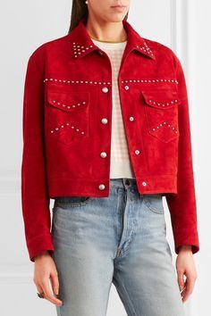 Miu Miu - Studded Suede Jacket - Crimson - IT42