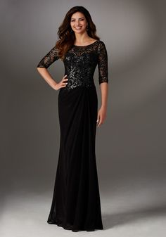 71524 (black) dress (Sheath, Scoop, Sleeves, Elbow Length) from Mori Lee : MGNY 2017, as seen on dressfinder.ca. Click for Similar & for Store Locator.