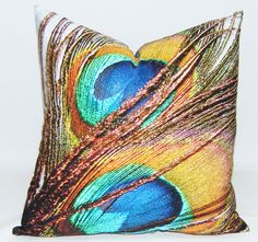 Peacock Feather Bamboo Fabric Throw Pillow  by ArtisticTextiles, $56.00.