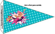 Bandeirinha Sanduiche 2 Barbie Super Princesa--- http://fazendoanossafesta.com.br/2015/07/barbie-super-princesa-kit-festa-infantil-gratis.html/