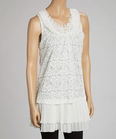 Take a look at this Ivory Pleated Lace Tank by Simply Irresistible on #zulily today!