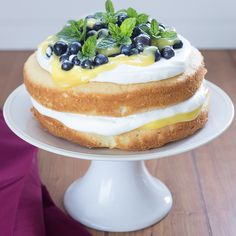 Lemon Curd and Blueberry Sponge – Stasty