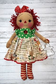 Your place to buy and sell all things handmade Christmas Decorations, Christmas Ornaments, Holiday Decor, Baking Cookies, Coffee Staining, Raggedy Ann, Christmas Baking, Beautiful Dolls, Stocking Stuffers