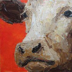 Cow painting original acrylic painting palette by ElenasArtStudio
