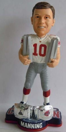 New York Giants Eli Manning 2X Super Bowl MVP Bobblehead by Forever Collectibles. $32.23. Two rings for one super quarterback, Eli Manning.