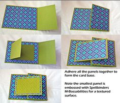 handmade card ... double fold card ... photo tutorial on the blog ... this photo shows  how to assemble the parts ...  luv the paper and embossing folder used  for this card ...
