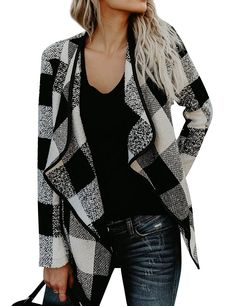 Women Open Front Plaid Cardigan Drape Coat Wool Blends Coat Outerwear Wrap  - Black - C3187N4MZMO 540dd4876506