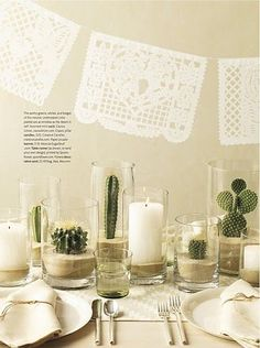 Papel Picado con cactus. spray paint pinto beans color of party and use in glasses.