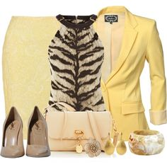 Rolled Sleeve Blazer Limoncello by michelle-hersh-wenger on Polyvore