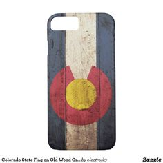 Colorado State Flag on Old Wood Grain