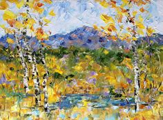"""Daily Painters Abstract Gallery: Palette Knife Aspen Tree Colorado Landscape Painting """"Pike's Peak,Fall"""" by Colorado Impressionist Judith Babcock"""