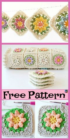 How to Crochet a Puff Flower - Crochet Ideas 10 Beautiful Crochet Granny Squares – Free Patterns Crochet Puff Flower, Crochet Daisy, Crochet Unicorn, Manta Crochet, Crochet Flower Patterns, Afghan Crochet Patterns, Crochet Flowers, Crochet Pillow Pattern, Granny Square Crochet Pattern