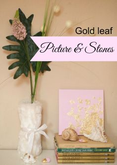 DIY gold leaf covered picture and stones. Via  Bohemia Living Magazine. www.bohemialiving.cz/english