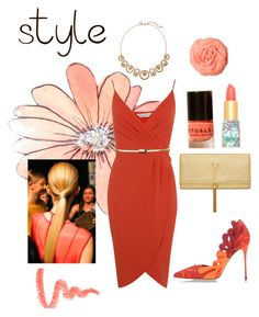 """""""Wake up wardrobe with Coral!"""" by amyjen70 ❤ liked on Polyvore featuring Miss Selfridge, Yves Saint Laurent, Sergio Rossi, White House Black Market and tarte"""