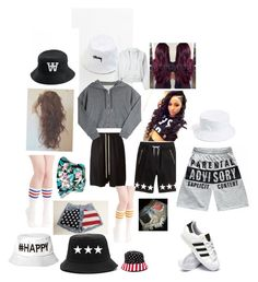 """""""Bored -_-"""" by mzlowkey ❤ liked on Polyvore featuring Rick Owens, Accessorize, Stussy, Amici Accessories, adidas and Golden Goose"""