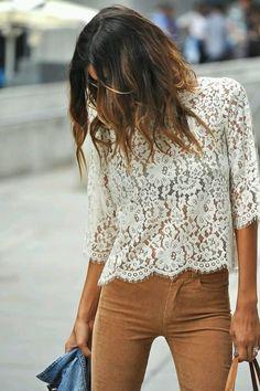 Image Via: The Peach Skin off white lace + camel pants Autumn Winter Fashion, Spring Fashion, Look Fashion, Fashion Outfits, Fashion Trends, Gypsy Fashion, Runway Fashion, Fashion Jewelry, Mode Shoes