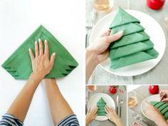 Pour Noël, impressionnez votre famille avec ce pliage de serviette en forme de sapin - Des idées