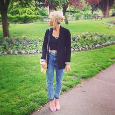 high waist, crop top, blazer